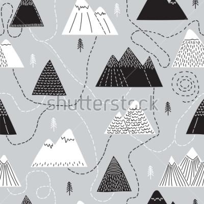Quadro Modello senza cuciture disegnato a mano con alberi e montagne. Sfondo creativo del bosco scandinavo. Foresta. Schizzo alla moda Illustrazione vettoriale
