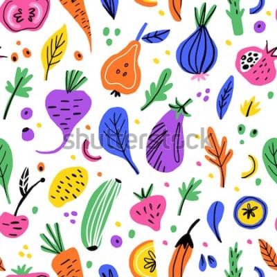Quadro Modello senza cuciture disegnato a mano piano di frutta e verdura. Trama di cartone animato nutrizione sana. Illustrazioni scandinave di alimenti biologici. Dieta schizzo colore clipart. Tessile da cu