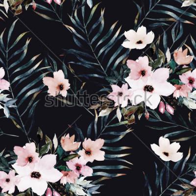 Quadro Modello senza cuciture esotico dell'acquerello, foglie tropicali verdi, fiori, illustrazione botanica di estate su fondo nero