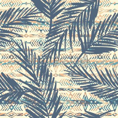 Quadro Modello senza cuciture etnico tribale con foglie di palma. Sfondo vettoriale