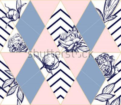 Quadro Modello senza cuciture geometrico alla moda con fiori di peonia. Texture ideale per la moda. Elemento di design vettoriale