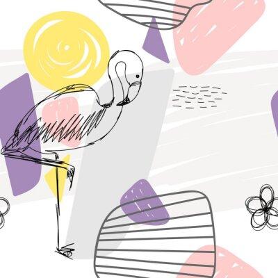 Quadro Modello senza cuciture geometrico astratto floreale con fenicottero.