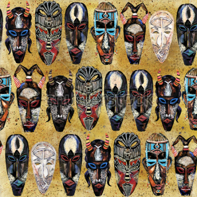 Quadro modello senza cuciture maschera africana. sfondo di totem tribale etnico disegnato a mano