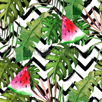 Quadro Modello senza cuciture tropicale. Foglie di palma e anguria. Illustrazione disegnata a mano Sfondo estivo Stile acquerello
