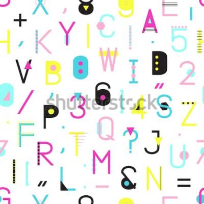 Quadro Modello senza saldatura alfabeto colorato con numeri e punteggiatura di forme geometriche isolato su sfondo bianco. Tipografia creativa che avvolge la trama in stile Memphis. Illustrazione astratta hi
