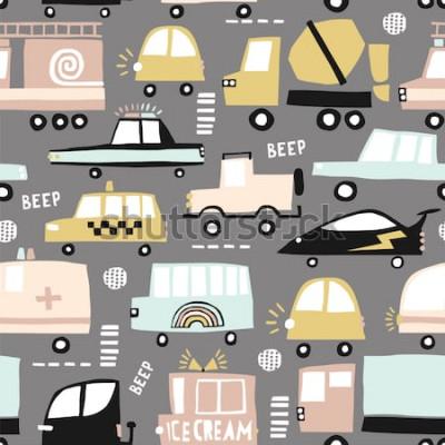 Quadro Modello senza saldatura con auto carine. Automobili del fumetto, portelli della strada, illustrazione di vettore del passaggio pedonale. Perfetto per bambini in tessuto, tessuto, carta da parati per b