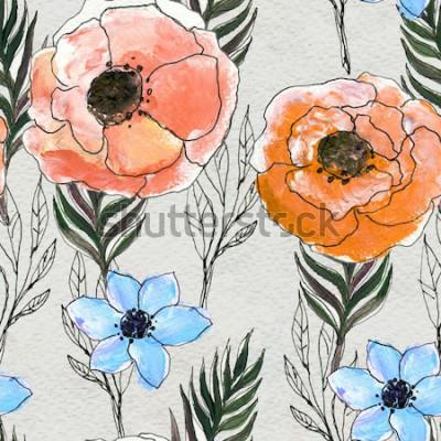 Quadro Modello senza saldatura con fiori colorati