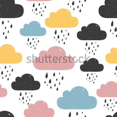 Quadro Modello senza saldatura con nuvole colorate di pioggia. Illustrazione vettoriale