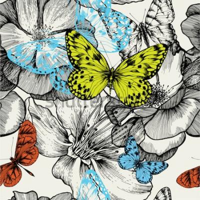 Quadro Modello senza saldatura con rose fiorite e farfalle volanti, disegno a mano. Illustrazione vettoriale