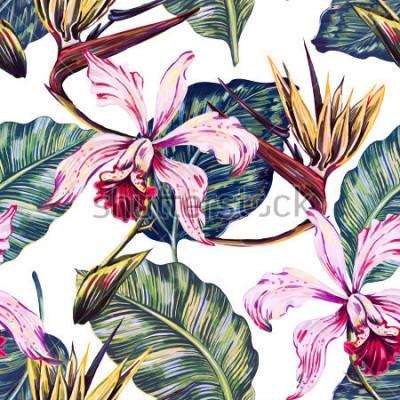 Quadro Modello tropicale senza cuciture floreale, fondo di estate con i fiori esotici, foglie di palma, foglia della giungla, orchidea, fiore del paradiso del paradiso. Carta da parati botanica, illustrazion