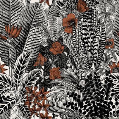 Quadro Modello vettoriale vintage senza soluzione di continuità. Fiori esotici e piante Illustrazione classica botanica.