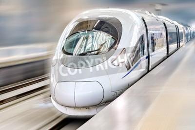 Quadro Modern Hi-Speed  Passenger Train. Motion effect.