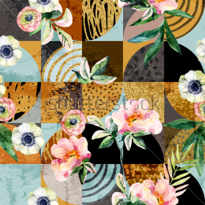 Quadro Modern seamless geometric and floral pattern: watercolor flowers and leaves on semicircles, circles, squares, grunge, golden glitter textures, doodles abstract background. Art illustration