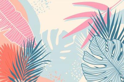 Quadro Modern tropical background. Jungle plants nature backdrop. Summer palm leaves wallpaper.