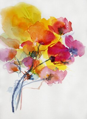 Quadro Mohnblumen Malerei aquarell