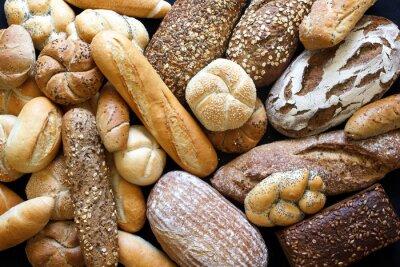 Quadro Molti tipi di pane misti e panini girato da sopra.