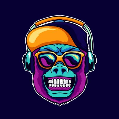 Quadro Monkey smile wear cool glasses and cap hat listening dope music on the headphone speaker vector illustration. Pop art color style animal gorilla head logo design for creative DJ sound producer studio.