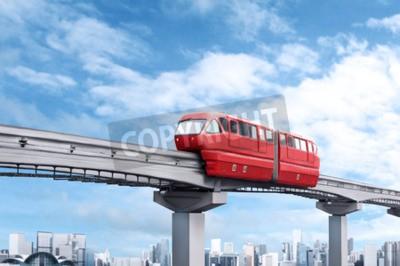 Quadro monorotaia Treno rosso contro il cielo blu e la città moderna in background