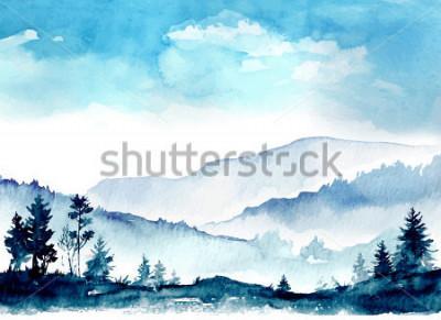 Quadro montagne dell'acquerello