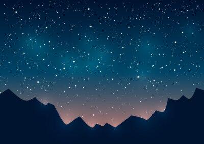 Quadro Montagne sagome su sfondo stellato