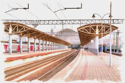Quadro Moscow city. Railway station platform. Imitation of a picture. Oil paint. Illustration