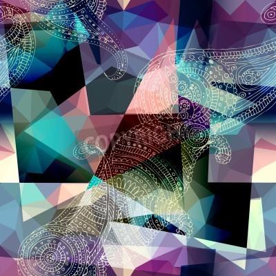 Quadro Motivo di sfondo senza soluzione di continuità. L'imitazione del cubismo stile pittura.