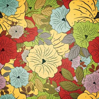 Quadro Motivo floreale senza saldatura Grunge colorata