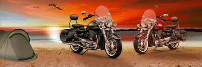 Quadro Moto, bici sulla spiaggia al tramonto di sera