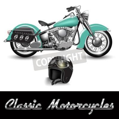Quadro moto d'epoca e casco con occhiali. illustrazione di vettore
