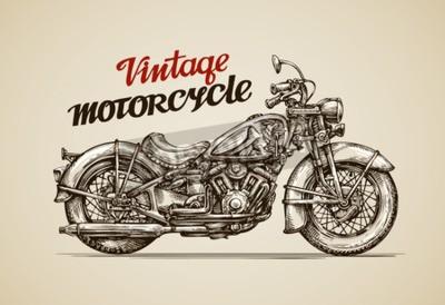 Quadro moto d'epoca. Illustrazione vettoriale mano disegnato moto
