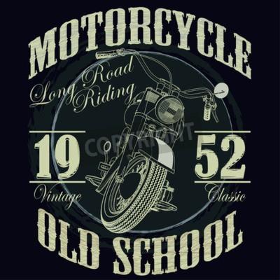 Quadro Motociclismo grafica tipografica. Vecchia scuola in bicicletta. T-shirt design, illustrazione vettoriale