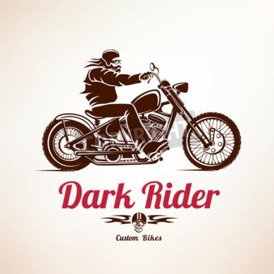 Quadro motociclista, moto grunge silhouette vettoriali, retrò emblema ed etichetta