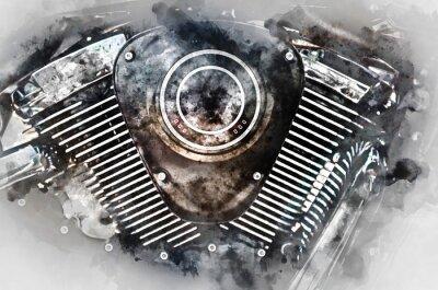 Quadro Motorcycle engine close-up. pittura ad acquerello digitale.