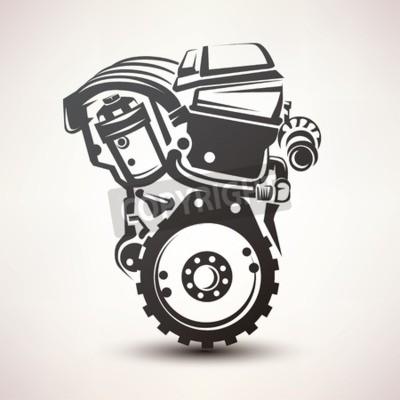 Quadro motore auto simbolo, stilizzato vettore silhouette icona