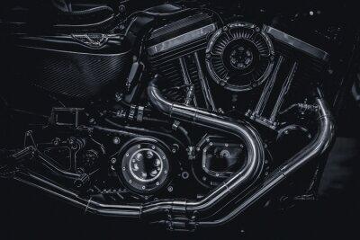 Quadro Motori del motociclo motore di scarico tubi fotografia d'arte in tono d'epoca in bianco e nero