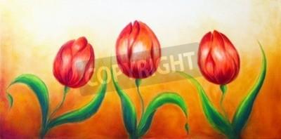 Quadro movente Fiore, tre ballare fiori tulipano rosso, bella brillante pittura colorata su sfondo ocre