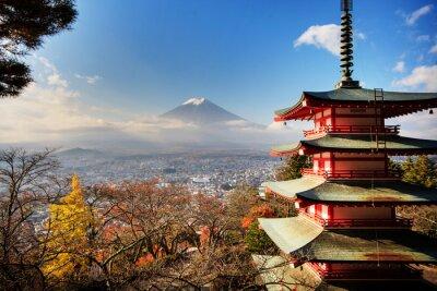 Quadro Mt. Fuji con la caduta colori in Giappone.