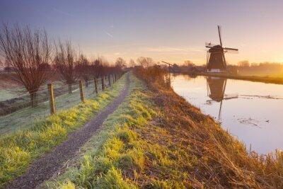 Quadro mulino a vento olandese tradizionale nei Paesi Bassi al sorgere del sole