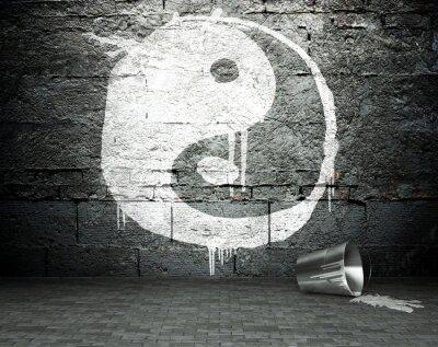 Quadro Muro dei graffiti con yin yang, sfondo strada