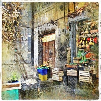 Quadro Napoli, Italia - le vecchie strade con piccolo negozio, foto artistiche