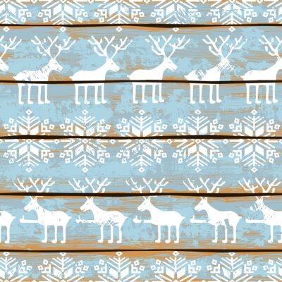 Quadro Natale seamless con cervi e fiocchi di neve