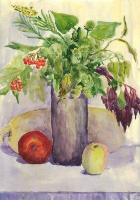 Quadro Natura morta. Bouquet, Apple, zucchine, Rowan. pittura ad acquerello