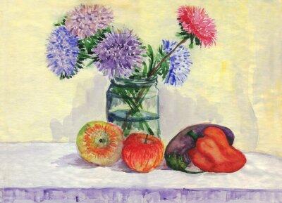 Quadro Natura morta. Bouquet di perenni, mele, peperoni, melanzane. pittura ad acquerello
