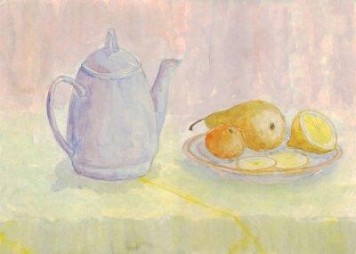 Quadro Natura morta con bollitore e frutta. Pera, limone, mandarino sulla piastra. pittura ad acquerello