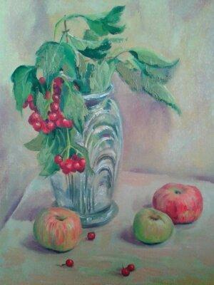 Quadro Natura morta con bouquet e frutta. Le mele e ribes rosso. Pittura ad olio