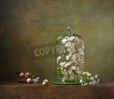 Quadro Natura morta con cloche con i rami degli alberi in fiore