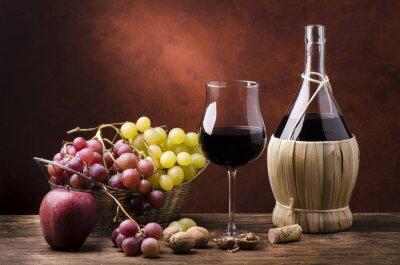 Quadro Natura morta con fiasco di vino efrutta