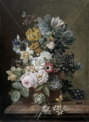 Quadro Natura morta con fiori, di Eelke Jelles Eelkema, c. 1815-39, pittura a olio olandese, olio su tela. Bouquet di rose, tulipani, narcisi, iris, su un basamento in pietra. Tra i fiori c'è una farfall