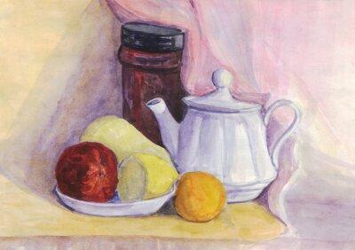 Quadro Natura morta con frutta e bollitore. Pera, limone, mandarino sulla piastra. pittura ad acquerello