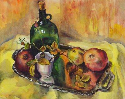 Quadro Natura morta con rose, melograni e una bottiglia di vino su un vassoio. pittura ad acquerello